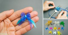 How to Make Tiny Bow with a fork- DIY & Crafts - Handimania-perfect for little dogs Dog Hair Bows, Dog Bows, Fabric Flower Headbands, Fabric Flowers, Diy Ribbon, Ribbon Bows, Ribbons, Craft Projects, Sewing Projects
