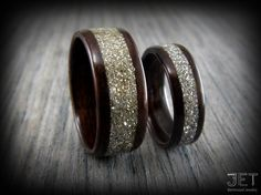 Bentwood Ring. His & Hers Macassar Ebony  with Silver Glass Inlay. Very durable steam bent wood ring. Made to Order