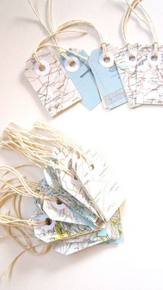 Vintage Map gift tags wedding shabby chic upcycled by MagpieandMax