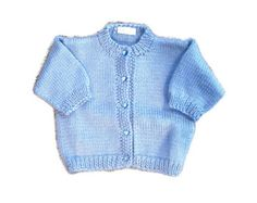 Knitted baby sweater blue baby boys sweater / size by MiaPiccina