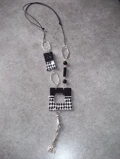 Sautoir réglable motif pied de poule Réf : SAU7800 : Collier par linou682