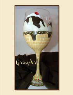 Sundae Wine Glass Wine Glass Icecream Glass Home Decor by GranArt