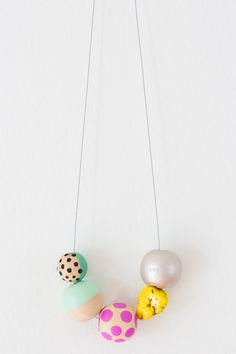 No. 7 | Hand Painted Wooden Bead Necklace by jenloveskev on Etsy