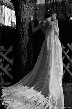 inbal dror 2013 bridal long sleeve wedding dress lace cape train