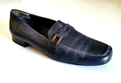 Paul Green Leather Loafers Women Navy Blue Braided Strap Buckle Slip On 9.5 US #PaulGreen #LoafersMoccasins #Any