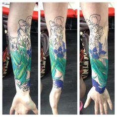 Van Gogh's Irises halfsleeve in progress