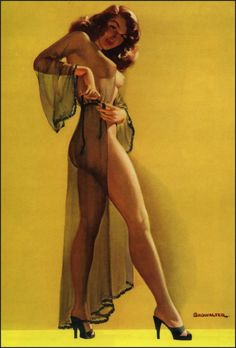 #pinup art by #CharlesShowalter. When a woman was admired for her curves. Not like the stick figures of today.