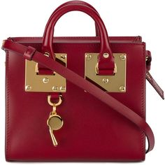 Sophie Hulme Red Albion Box Bag (1.805 BRL) ❤ liked on Polyvore featuring bags, red, red bag, red leather bag, genuine leather bags, sophie hulme bag and real leather bags