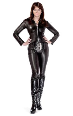 Leather catsuit courtesy of Channel Pvc Fashion, Leather Fashion, Womens Fashion, Leather Catsuit, Leather Jumpsuit, Suzi Perry, Avengers Girl, Thigh High Boots Heels, Leather Dresses