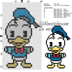 Donald Duck Disney Cuties free pattern  (30x52)