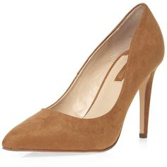 Dorothy Perkins Tan 'Emily' high court shoes ($36) ❤ liked on Polyvore featuring shoes, pumps, brown, high heel pumps, pointy shoes, suede pointy pumps, tan pumps and brown suede shoes