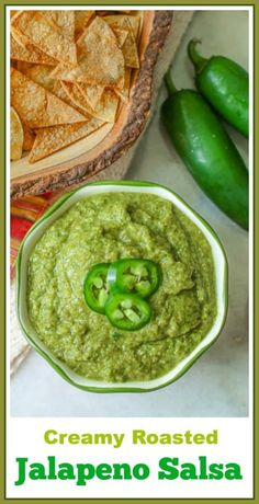 Jalapeno salsa is a flavorful spicy creamy salsa. Its creamy texture is created from roasted jalapenos, onions, and garlic that is combined with fresh cilantro, lime juice, and olive oil. This Mexican green sauce is great on chips or your favorite tacos! #salsa #jalapeno Best Appetizer Recipes, Best Appetizers, Vegan Recipes Easy, Mexican Food Recipes, Appetizer Ideas, Vegetarian Recipes, Roasted Jalapeno Salsa, Jalapeno Recipes, Jalapeno Chips