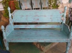 Unique Charming  Blue Country Style Bench