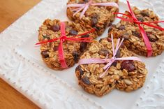 Heart-shaped Almond Coconut Granola Bars adapted from Dr. Fuhrman's Yummy Banana-Oat Bars Fruit And Nut Recipes, Vegan Dessert Recipes, Snack Recipes, Appetizer Recipes, Appetizers, Vegan Christmas Desserts, Raw Desserts, Holiday Foods, Healthy Desserts