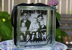 Take a glass block, put picture on the back, put vinyl letters on the front for a nice 3D effect