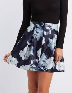 Floral Pleated Skater Skirt #charlottelook