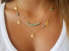 Layered Necklace Set. Turquoise Stone Beads and Coins. Layer Necklace. Set of 2 Necklaces