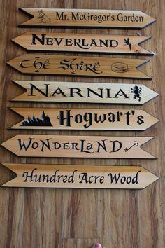 home_decor - Fantasy Land Arrows, Fandom signs, Fantasy Directional Arrow, Garden Arrows Fantasy land Wood Burning Crafts, Wood Burning Art, Narnia, Diy Wood Projects, Wood Crafts, Deco Cinema, Teacher Signs, Arrow Signs, Fandoms