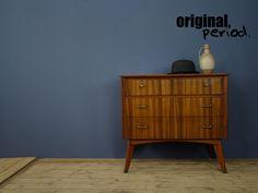 Vintage drawers from the Beautiful walnut grain detail. Vintage Drawers, Scandinavian Furniture, Retro Furniture, Mid Century Furniture, Home Organization, Retro Vintage, 1950s, Organize, Lights
