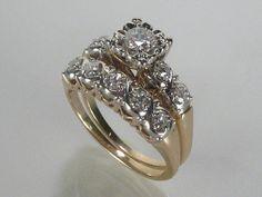 Vintage Wedding Rings Set  054 Carats by lonestarestates on Etsy, $825.00