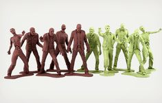 The classic plastic army men toys have been updated with an undead twist in these new The Walking Dead Zombie Army Men.