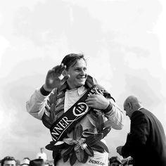 Bruce McLaren weekend! Bruce McLaren celebrates his win after the 1964 New Zealand Grand Prix of the Tasman Series.