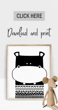 Cute hippo illustration, original baby animal artwork by Etsy shop SquareM