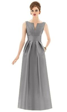 c44357f8589 Full length sleeveless sateen twill bridesmaid dress with split seam detail  at neckline and inset midriff