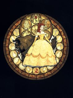 Belle stained glass art from Kingdom Hearts