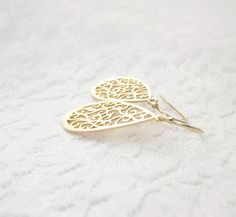 Small Gold Teardrop Earrings Filigree  14k Gold Filled by PinkTwig