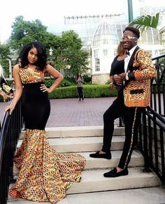 The AfroFusion Spot: Fashion Trends: 2016 Afrocentric Prom Styles, prom, prom gown, prom dress, prom 2016, prom date, Afrocentric, african prom, african, african inspired, black prom, african print, ankara, dashiki, kente, color, colorful, highschool prom, couple, black love, love