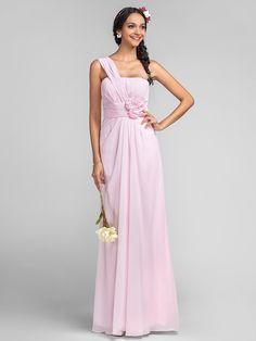 Floor-length Chiffon Bridesmaid Dress - Blushing Pink Plus Sizes Sheath/Column One Shoulder | LightInTheBox