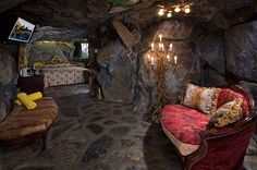 Rock Bottom Room at The Madonna Inn. Their rooms look so bad they're almost good!