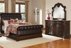 King leather sleigh bed