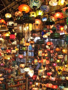 Colourful Lights at a lighting shop in Istanbul......or as I like to call it, light heaven.