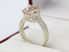 Natural Morganite 14K White Gold Diamond engagement Ring-antique style | gngjewel - Jewelry on ArtFire