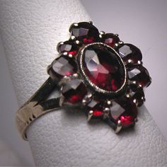 Antique Garnet Ring Victorian Bohemian Rose Cut