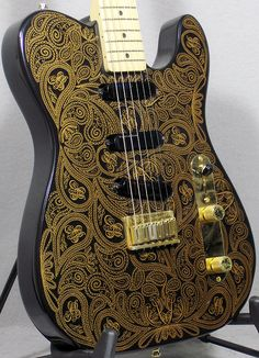 1994 Fender James Burton Signature Telecaster Black/Gold Paisley > Guitars : Electric Solid Body - Tommy's Guitar Shop   Gbase.com