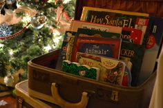 Suitcase full of Christmas books-read one each night!  So cute.  I will definitely do this.  Time to buy some more Christmas books!
