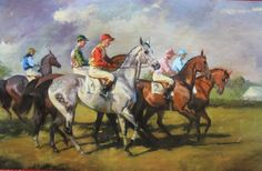 oil painting by Katherine Landikusic Run For The Roses, Thoroughbred Horse, The Fox And The Hound, Sports Art, Equine Art, Horse Racing, Fly Fishing, New Art, Horses