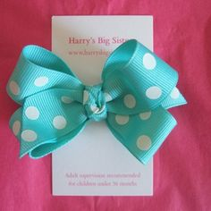 Harry's Big Sisters Hair Bow Clip in Aqua £4.25