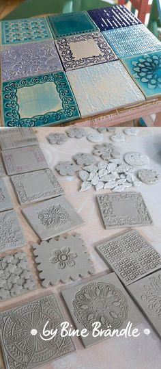 Great stool or side table! Pottery tiles with relief patterns yourself. - Clara HomeGreat stool or side table! Pottery tiles with relief patterns yourself.How To Make DIY Paper Clay Best Recipe! Clay Projects, Clay Crafts, Diy And Crafts, Clay Tiles, Ceramic Clay, Ceramics Tile, Ceramic Tile Art, Ceramic Houses, Slab Pottery
