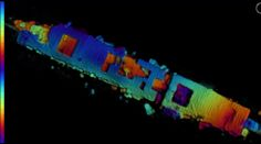 An autonomous underwater vehicle scanned the USS Independence, taking several sonar images of each section of the ship, giving a high-resolution picture with colors denoting topography.