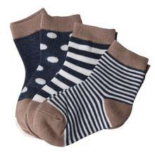 4 pares meias listradas do bebê recém-nascido menino da menina do inverno Casual Infantil chinelos bebê, Antiderrapante meias chão crianças meias(China (Mainland))