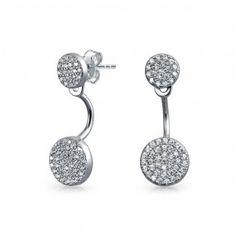 Bling Jewelry Sterling Silver Modern Double Disc CZ Ear Jacket Earrings