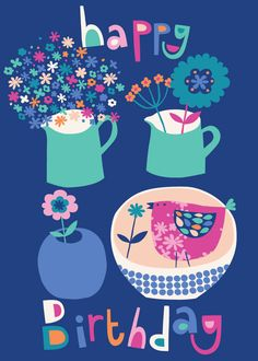 pots jugs and flowers bird happy birthday design illustration print greetings card victoriajohnsondesign.com