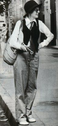 Diane Keaton circa 1977--I saw her on an award show a few days ago and she is an inspiration of fashion consistency!!!