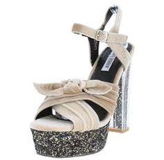 7c5e9b341b4 CORALEE2 NUDE VELVET BOW GLITTER PLATFORM LUCITE HEEL - Wholesale Fashion  Shoes Wholesale Fashion Shoes