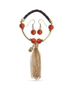 Kim Rogers  Gold-Tone Buddha Tassel Bracelet and Red Bead Earrings Box