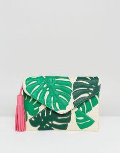 Sjinnidip clutch de paja tipo sobre con hojas de palmera